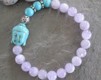 Amethyst & Turquoise Buddha Meditation Bracelet - Mala/Yoga/Metaphysical Jewelry