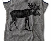 Womens MOOSE shirt Racerback Tank Top live free and wild  S M L XL skip n whistle