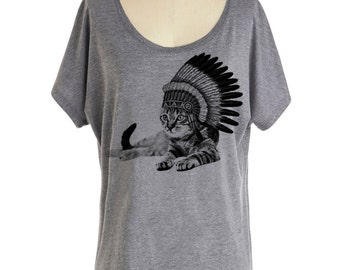 Womens CAT INDIAN T shirt - Dolman sleeve slouchy off the shoulder shirt (Many color choices) sm, med, lg, xl, xxl skip n whistle