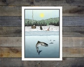 Ice Fishing 8x10in. Giclee Print