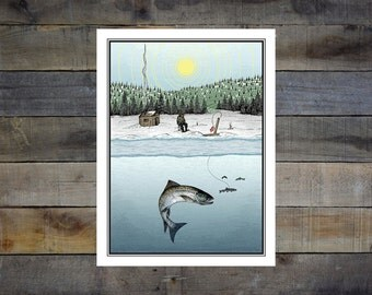 Ice Fishing 8x10in. Giclee Print