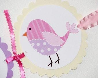 Pink Purple bird birthday banner