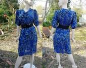 80s Dress, Peplum Dress, 80s Costume, Vintage Dress, Print Dress, Secretary Dress, Vintage Costume, Gift For Her,  Zoey T, Dress Size 10