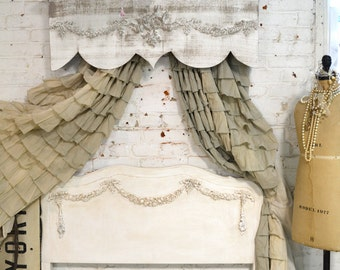 Painted Cottage Chic Shabby Handmade Bed Crown / Window Valance