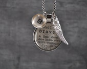 Vintage Dictionary Word Necklace Be Brave with charms