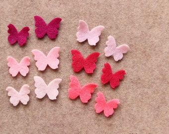 Perfectly Pink - Tiny Butterflies - 48 Die Cut Felt Shapes