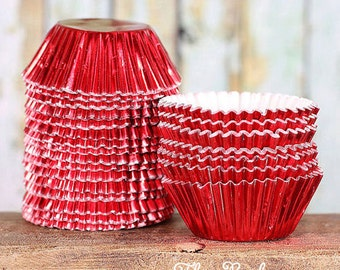 Mini Red Foil Cupcake Liners, Mini Red Baking Cups, Red Candy Cups, Red Truffle Cups, Mini Cupcake Liners, Mini Baking Cups, Foil Baking Cup