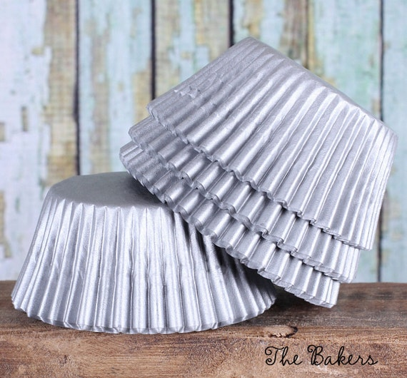 Matte Silver Cupcake Liners, Silver Wedding Cupcake Liners, Gray Cupcake Liners (100 count)*
