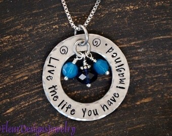 Inspirational Jewelry, Live the Life You Have Imagined Necklace, Thoreau Quote Necklace, Graduation Gift