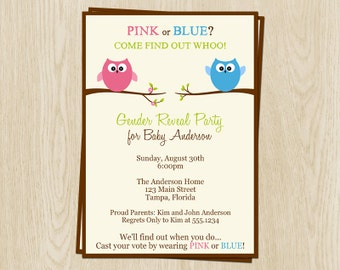 Owl Gender Reveal Party Invites, Guess Whoo, Boy or Girl, Come Find Out Whoo, Owl Baby Shower Invitations, Set of 10 Printed with Envelopes