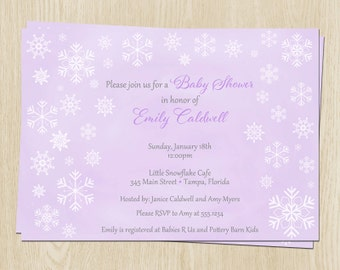 Winter Baby Shower Invitations, Girls, Purple, Snowflakes, Set of 10 Printed Cards with Envelopes, FREE Ship, WWLGP, Winter Wonderland Girl