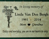 "Garden Memorial plaque. Maintenance Free 12""x8""x3/8"" ""Daisy Bunch"" design Price includes shipping..."