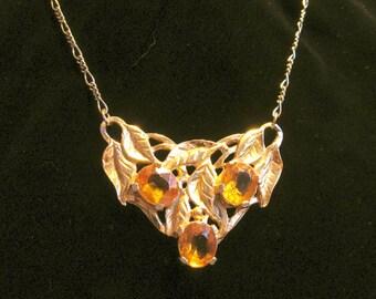 Refashioned Vintage Gold Rhinestone Necklace