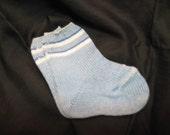 Vintage Baby Doll Socks Blue with White & Blue Stripes 2-3/4""
