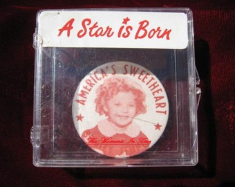 "A Vintage Shirley Temple Mirror Adorable ""America's Sweetheart""  2-1/4"" Original  Picture Pocket Mirror"