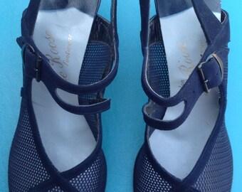 1940's Blue Peep Toe Heels/ Ankle Strap/ Nylon Mesh/Suede/sz.7A Salon DeRoose Footwear