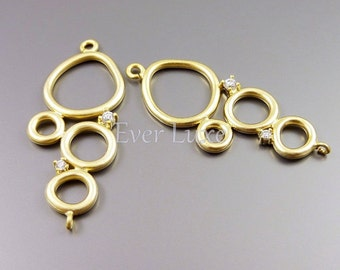 2 abstract multi-circles with CZ Cubic Zirconia, ring pendants, ring connectors, circle jewelry pendants 1780-MG (matte gold, 2 pieces)
