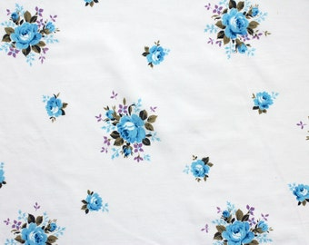 blue and purple posies, a vintage sheet fat quarter