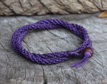 Double Wrap Purple Woven Unisex Bracelet/Necklace