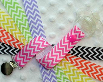 Chevron Stripe Pacifier Soothie Clip Holder, Orange, Yellow, Green, Lavender, Hot Pink OR Black