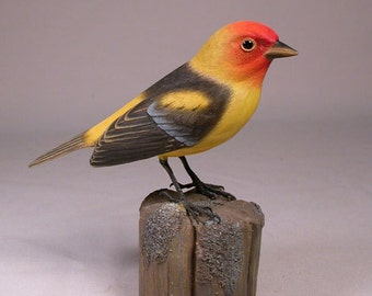 Western Tanager Hand Carved Wooden Bird