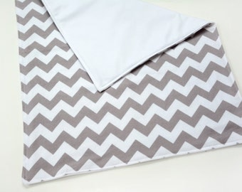 Waterproof Baby Changing Mat Travel Changing Mat for Baby Boy Girl Gift, Gray Chevron Flannel Blanket, Rollup Pad, Baby Items