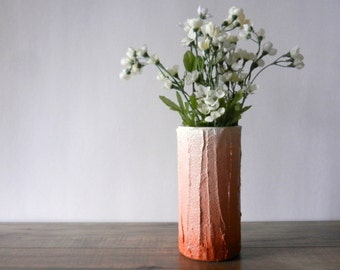 terracotta ombre Vase / orange brown home decor / handcrafted vase / clay colored flower vase / burnt umber vase