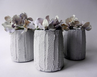 Trio of Vases / Instant collection / Gray Home Decor / made to order/ set of 3 / grey mini vases
