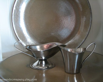 Stainless Steel Serving Pieces - two - Creamer - Pitchers - Gravy Boat - Danish - Korea - Candle Holder - Flower Vase - Display