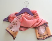Pink silk scarf, Hand painted silk scarf (pink yellow purple colors), hand dyed scarves, silk scarves for women, gift for her, art gift