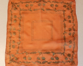 1940s Sheer Orange and Gold Floral Silk Scarf by Vera