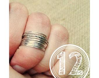 12 Sterling Silver stack rings set of 12 midi rings sterling silver knuckle rings Rustic Ring Set