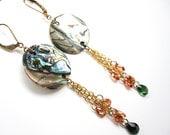 Abalone Dangle Earrings, Drop Earrings, Chandelier Earrings, CZ Gold Filled Earrings, Handmade Earrings, Shell Earrings, Stone Earrings
