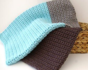 Crochet Baby Blanket crochet Baby Afghan Color Block in Grey and Aqua