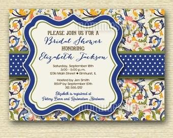Bright Italian Flowers Bridal Shower Invitation - PRINTABLE INVITATION DESIGN