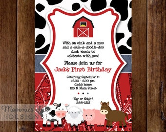 Farm Invitation, Farm Animals Birthday Party Invite, Farm Invite, Farm Party, Farm Birthday Invitation, Barnyard Invitation, Farm Printable