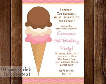 Ice Cream Cone Birthday Invite - PRINTABLE INVITATION DESIGN