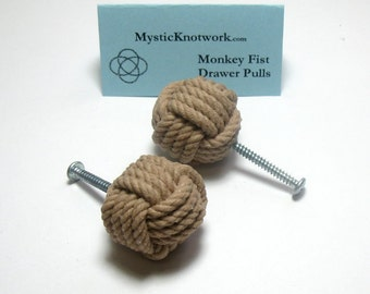 Tan Nautical Monkey Fist Knob Drawer Pulls Set of Two