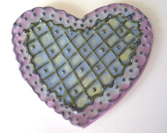 Lavender and baby blue  Lacy Heart Teaspoon Rest
