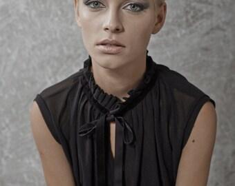 black blouse - sleeveless blouse - loose shirt - cotton blouse - loose top - sexy tops - sleeveless top - cotton tops - NRIBBON