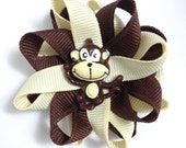 Brown & Cream Monkey Small Hair Bow Set - Handmade Hair Bow Set - Small Monkeys Hair Bow Set - 2.5 inch Hair Bow Set - No Slip