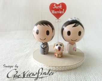 "Customize 2"" Wedding Cake Topper with heart message and a pet"