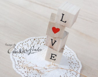 Personalized Love Wedding Cake Topper with Painted Texts . Text Wood Blocks . rustic wedding favors decor .
