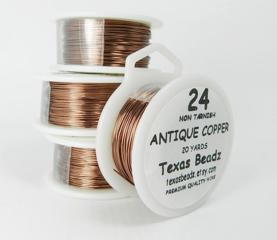 24 Gauge Antique Copper Wire, 24g Non Tarnish, ParaWire Brand Anti Tarnish Jewelry and Craft Wire 20 yds