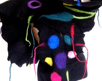 Felted Scarf, Ruffle, Wavy, Black Multicolor, Floral Design, Felt Scarf With Tassels Fringes, Merino Wool Boho Style