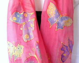 Hand Painted Silk Scarf, Butterflies, Salmon Pink Multicolor, Silk Chiffon Scarf, Gift For Her