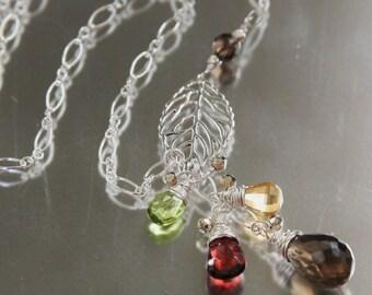 autumn foliage gemstone necklace