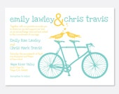 Playful Bike Wedding Invitation, Modern Wedding Invitation, Bird Invitation, Bicycle Invitation, Simple Wedding Invitation, Love Birds