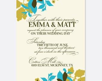 Organic Floral Wedding Invitation, Floral Wedding, Script Wedding Invitation, Classic Wedding Invitation, Flowers, Leaves, Modern Wedding