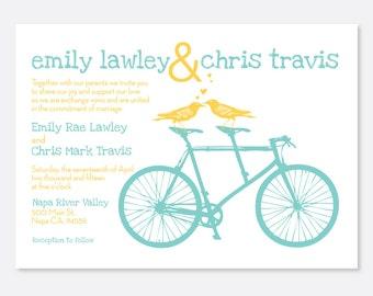 Playful Bike Wedding Invitation, Modern Wedding Invitation, Bird Invitation, Bicycle Invitation, Simple Wedding Invitation, Love Birds